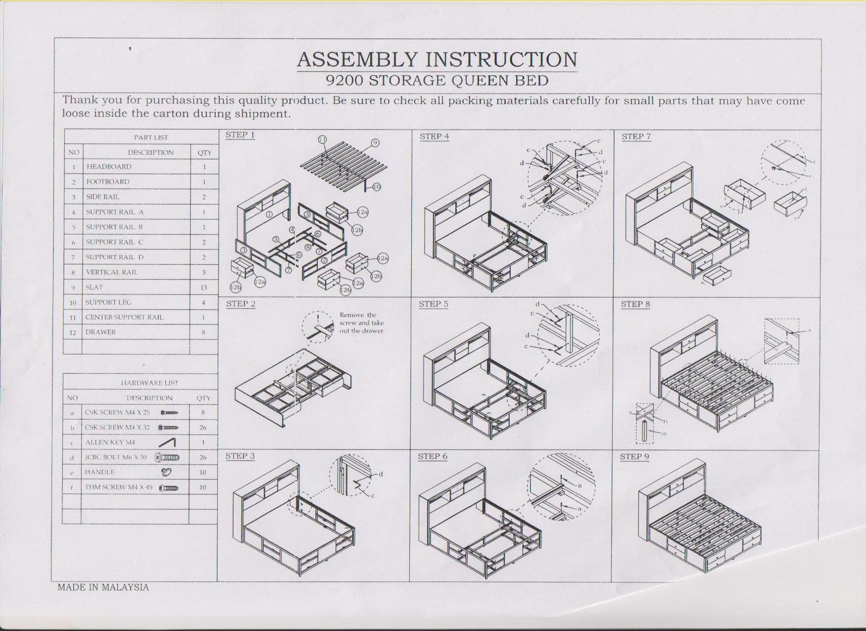Storage Bed: Storage Bed Instructions