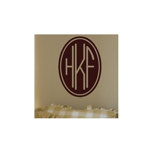 Alphabet Garden Designs Personalized Three Letter Oval Monogram Wall Decal