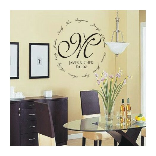 Alphabet Garden Designs Personalized Family Encircling Love Monogram Wall Decal