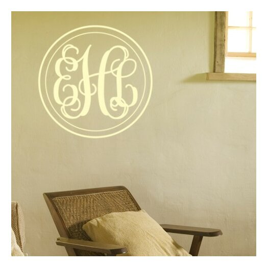 Alphabet Garden Designs Personalized Double Circle Fancy Interlock Monogram Wall Decal
