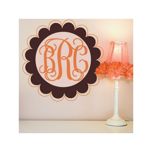 Alphabet Garden Designs Scalloped Edge Fancy Monogram Wall Decal