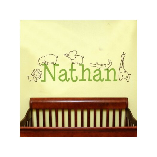 Alphabet Garden Designs Personalized Jungle Animals Wall Decal