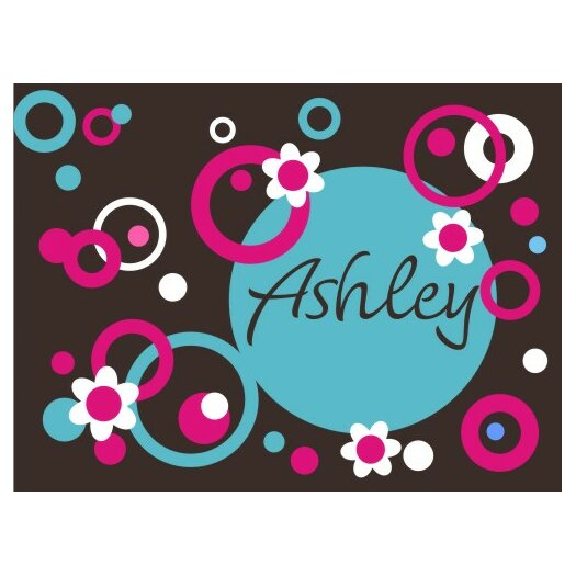 Alphabet Garden Designs Personalized Circles Dots and Flowers Wall Decal