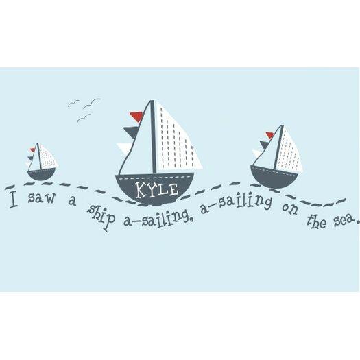 Alphabet Garden Designs Personalized Sail Away Wall Decal