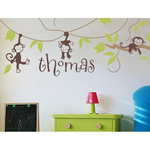 Alphabet Garden Designs Monkey Vines Personalized Vinyl Wall Decal