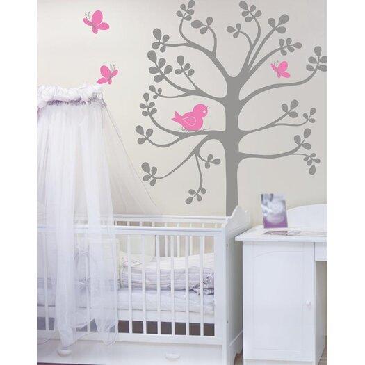 Alphabet Garden Designs Spring Tree Birds and Butterflies Vinyl Wall Decal