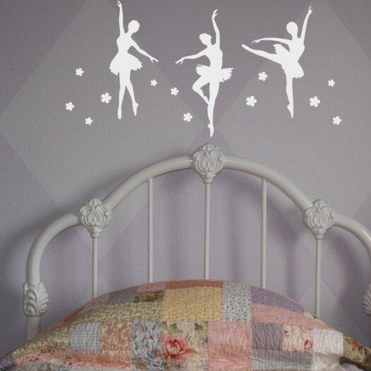 Alphabet Garden Designs Ballerina Trio Wall Decal