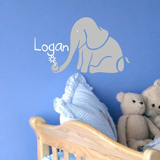 Alphabet Garden Designs Personalized Logan's Elephant Wall Decal