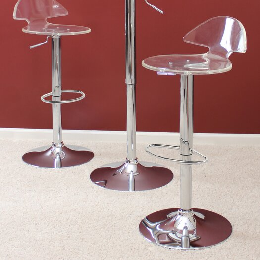 LumiSource Venti Clear Adjustable Height Bar Stool