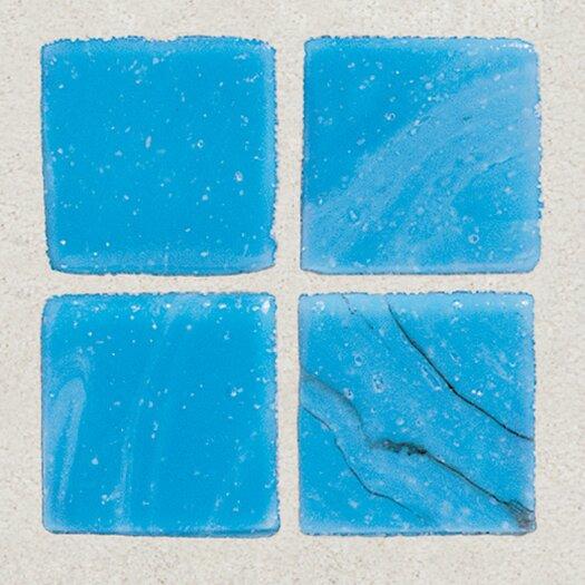 "Daltile Sonterra Collection 1"" x 1"" Opalized Mosaic Tile in Cancun Blue"