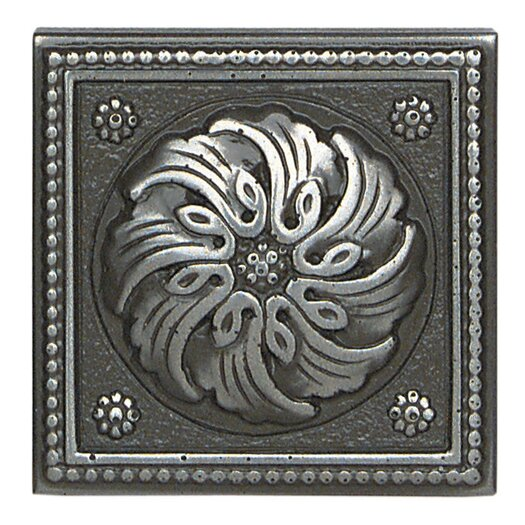 "Daltile Metal Ages 2"" x 2"" Celtic Glazed Decorative Tile Insert in Polished Pewter"