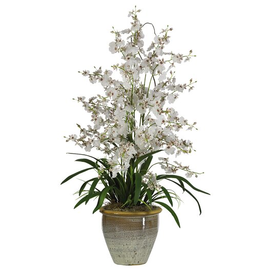 Nearly Natural Triple Dancing Lady Silk Orchid Arrangement in White