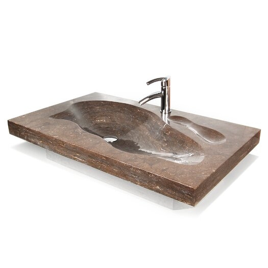 "D'Vontz Natural Stone 37"" Grand Tahoe Vanity Top with Integrated Sink"