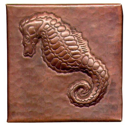"D'Vontz Sea Horse 4"" x 4"" Copper Tile in Dark Copper"