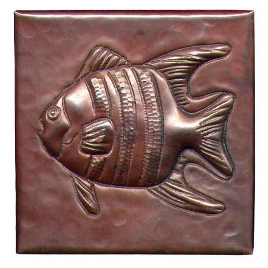 """D'Vontz Angel Fish 4"""" x 4"""" Copper Tile in Dark Copper"""