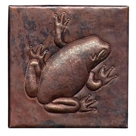 """D'Vontz Tree Frog 4"""" x 4"""" Copper Tile in Dark Copper"""