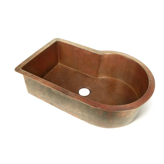 "D'Vontz Copper 33"" x 22"" Nautilus Single Bowl Kitchen Sink"