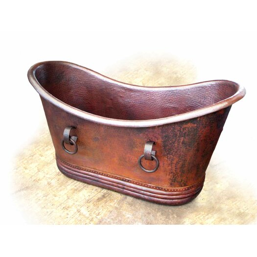 """D'Vontz Isabella Copper 67"""" x 31"""" Small Slipper Tub with Rings"""