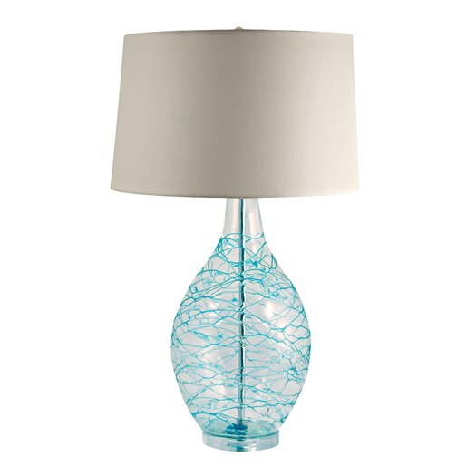 "Lamp Works Glass Hand Blown 31"" H Table Lamp with Drum Shade"