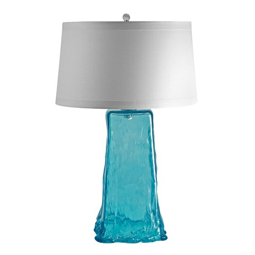 """Lamp Works Recycled Glass Wave 28"""" H Table Lamp with Drum Shade"""