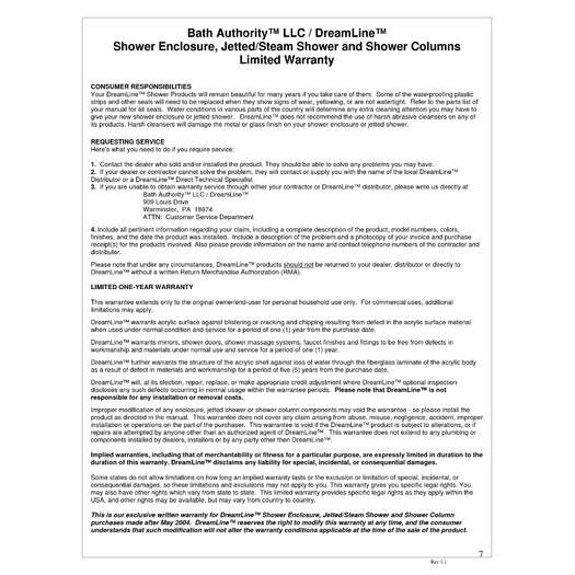 Dreamline SHCM-2050 Hydrotherapy Shower Column