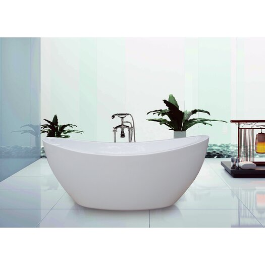 "Aquatica PureScape 75"" x 38"" Freestanding Acrylic Slipper Tub"