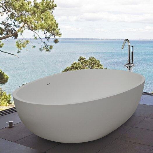 """Aquatica PureScape 67"""" x 33"""" Freestanding AquaStone Bathtub"""