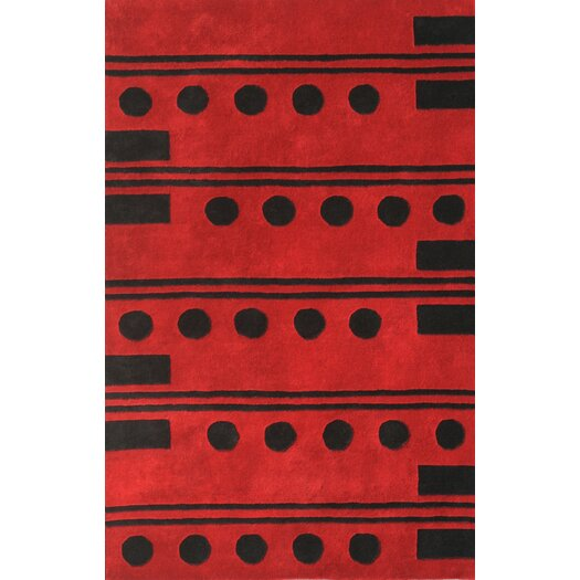 Noble House Eleen Red/Black Area Rug