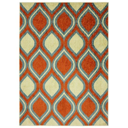 Mohawk Home Woodgrain Stylin Ogee Orange & Yellow Area Rug