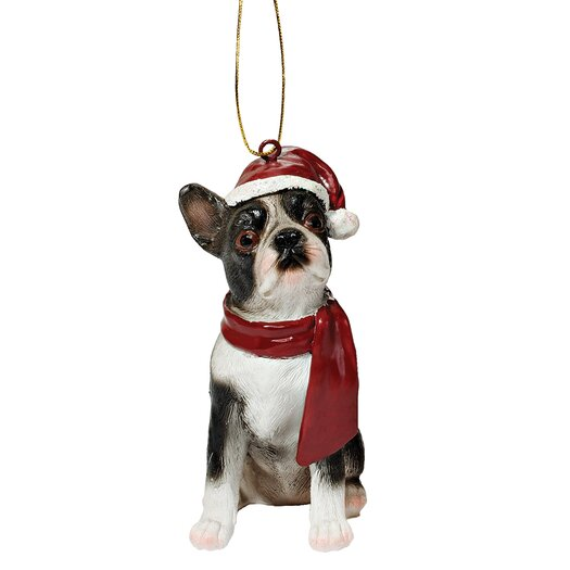 Design Toscano Boston Terrier Holiday Dog Ornament Sculpture