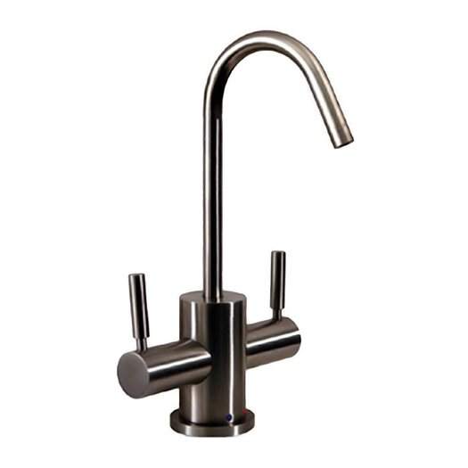 Whitehaus Collection Forever Hot FX Two Handle Single Hole Instant Hot and Cold Water Dispenser Kitchen Faucet