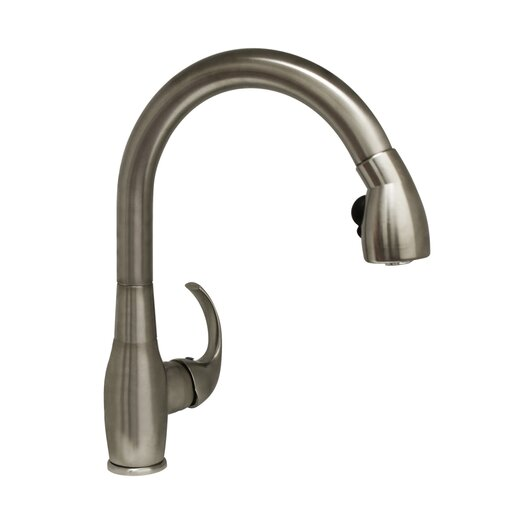 Whitehaus Collection Metrohaus One Handle Single Hole Kitchen Faucet with Curved Lever Handle and Pull-out Spray