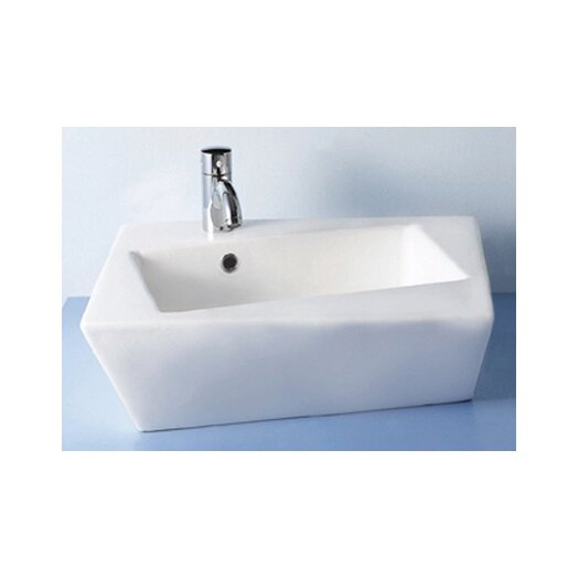 Whitehaus Collection China Above Mounted Escher Torto Distorted Rectangular Bathroom Sink with Angle Sides