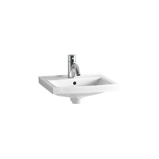 Whitehaus Collection China Wall Mount Small Rectangular Bathroom Sink with Overflow