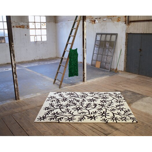 Black On White Flores Area Rug