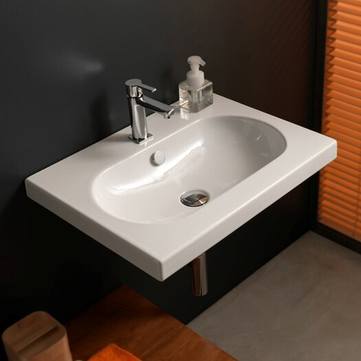 Ceramica Tecla by Nameeks EDO Wide Ceramic Bathroom Sink with Overflow