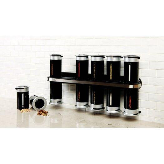 Zevro Zero Gravity Wall Mount Magnetic Spice Set - 12 canister