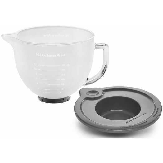 KitchenAid 5 Qt. Glass Bowl with Measurement Markings, Pour Spout & Lid