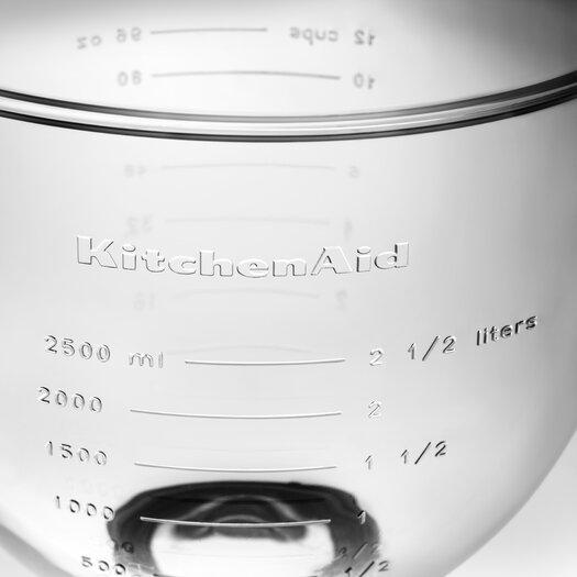 KitchenAid 5 Qt. Glass Bowl with Measurement Markings, Pour Spout & Lid