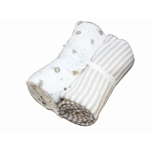 Under the Nile Nature's Nursery Flannel Swaddle Blanket Set in Animal Print and Tan Stripes