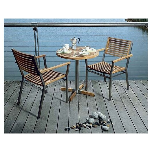 Barlow Tyrie Teak Equinox Circular Steel and Teak Bistro Table