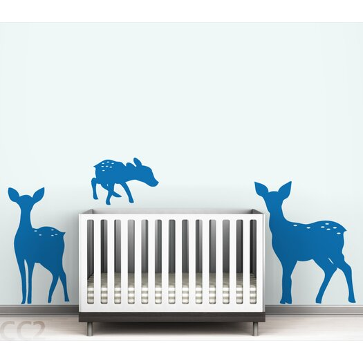 LittleLion Studio Fauna Deer Family Silhoutte Wall Decal