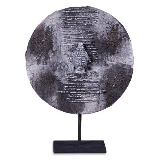 Phillips Collection Lava Stone Buddha Head Plaque Figurine