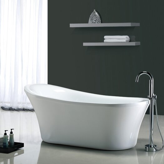 "Ove Decors Rachel 70'' x 34"" Acrylic Freestanding  Slipper Tub"