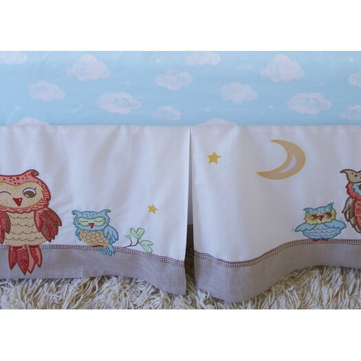The Little Acorn Baby Owls Crib Bed Skirt