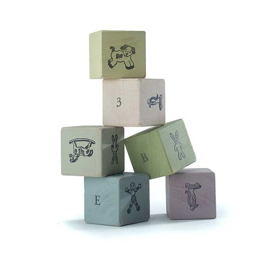 Tree by Kerri Lee Wooden Blocks in Distressed Pastels