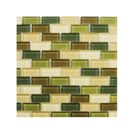 Interceramic Shimmer Blends Ceramic Glossy Mosaic in Foliage