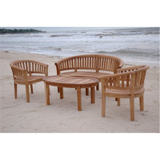 Anderson Teak Kidney Curve Coffee Table with Armchair and Bench