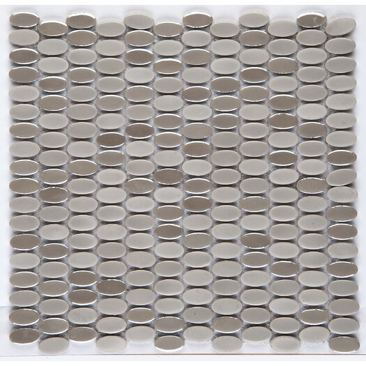 Emser Tile Confetti Oval Round Porcelain Glazed Mosaic in Silver
