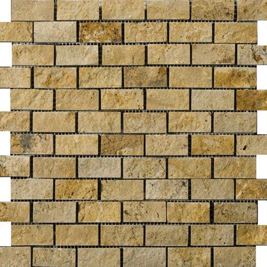 Emser Tile Natural Stone Travertine Split Face Brick-Joint Mosaic in Gold
